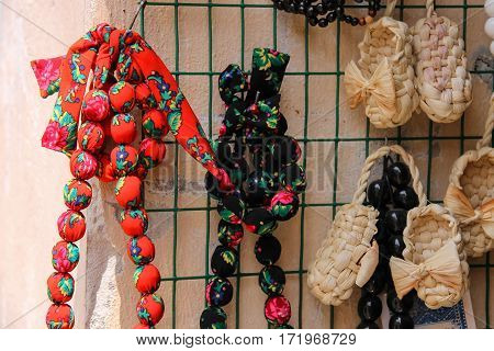 Mukachevo Ukraine - July 2 2014: Tourist souvenirs in the old traditional style