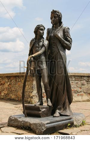 Mukachevo Ukraine - July 2 2014: Monument of Ilona Zrinyi and her son Ferenc Rakoczy in Mukachevo castle