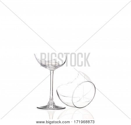 the Broken wineglass isolated on white background