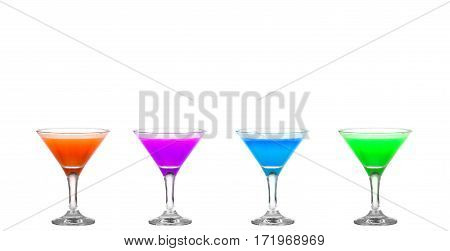 Four Martini Glasses With Colored Cocktails - Hurray !!