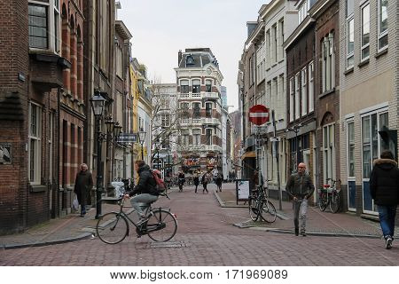Utrecht the Netherlands - February 13 2016: People on the old streets in historic city centre (Hamburgerstraat)