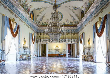 Naples Italy - June 18 2016: The ballroom of the Capodimonte royal palace