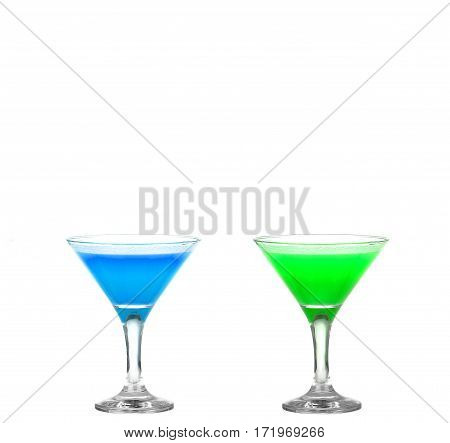 Two Martini Glasses With Colored Cocktails - Hurray !!