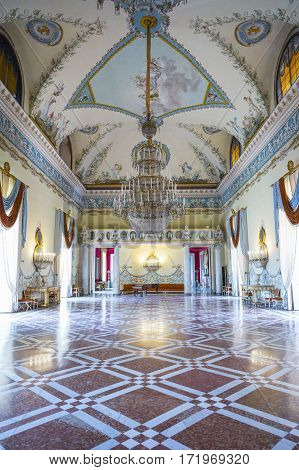 Naples Italy - June 18 2016: The hall of the Capodimonte royal palace