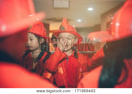HO CHI MINH CITY VIET NAM - 17 JUNE 2016: Children having fun in indoors playground as the fireman