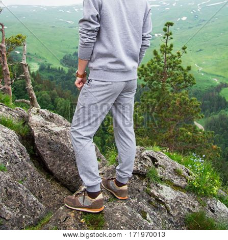 Hipster Man On Top Of Mountain. Conceptual Design. Close Up