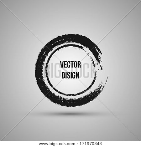 Hand Drawn Circle Shape. Label, Logo Design Element, Frame. Brush Abstract Wave. Vector Illustration