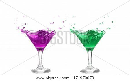 Collage   Purple And Green  Cocktail With Splash Isolated On White Background