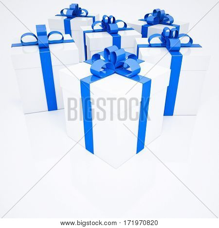 Group of six white presents with blue ribbons, rendering