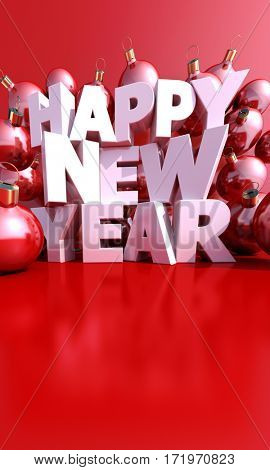 Happy New Year with Christmas balls 3d rendering