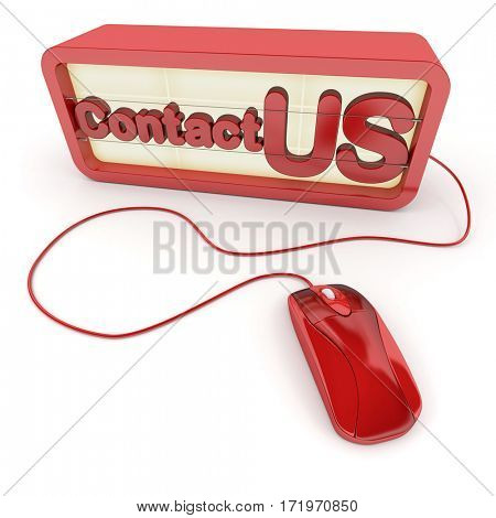 Contact us sign connected to a computer mouse 3D rendering