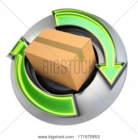 3D rendering Box in a metallic circle with movement arrows