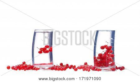Collage Water With Red Currants Isolated On White