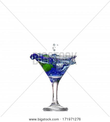 Blue Cocktail With Splashes Isolated On White Background
