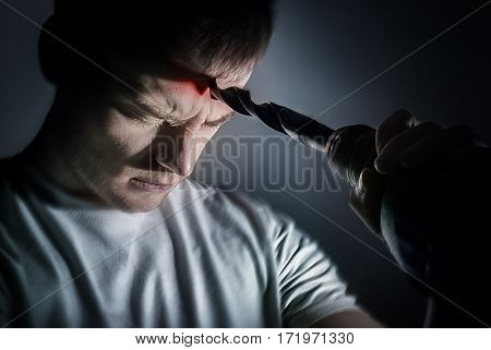 Man Man Applies A Drill To His Head, The Concept Of A Headache, Schizophrenia, Insomnia, Insanity, O