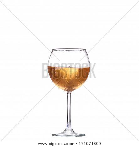 Wine Collection - White Wine In A Glass. Isolated On White Background