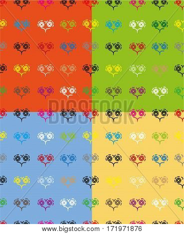 seamless pattern with patterns of multicolored hearts on a dark grey background..set of four colored seamless pattern