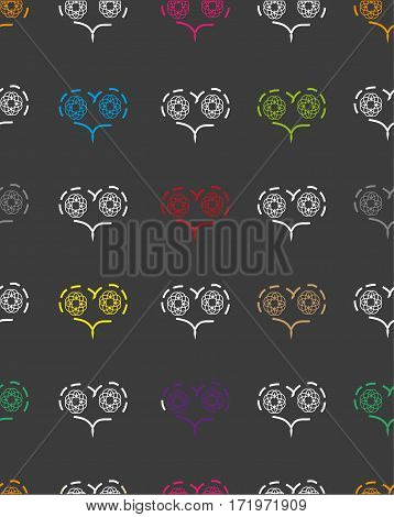 seamless pattern with patterns of multicolored hearts on a dark grey background