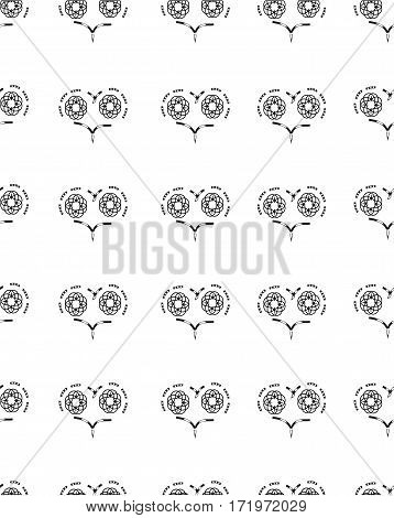 seamless pattern with patterns of hearts on a white background