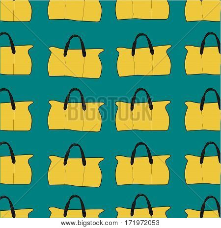 seamless pattern of  yellow bags on a aquamarine background.