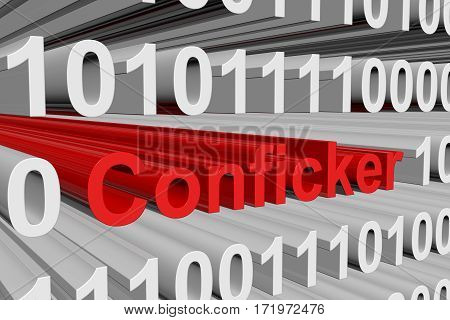 conficker in the form of binary code, 3D illustration