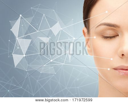 beauty, people and healthy skin concept - beautiful young woman face over gray background with low poly projection and pointers