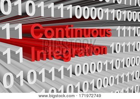 continuous integration is presented in the form of binary code 3d illustration