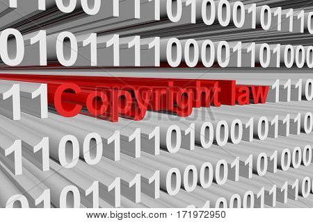 copyright law is presented in the form of binary code 3d illustration