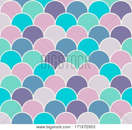 Abstract colorful scallop seamless vector pattern. Fish or reptile scales repeat wallpaper.