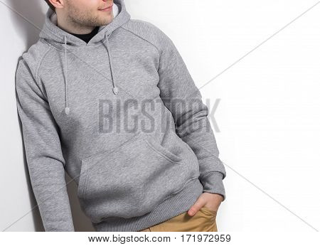 Man, Guy In Blank Grey Hoodie, Sweatshirt, Mock Up Isolated. Plain Hoody Design Presentation.