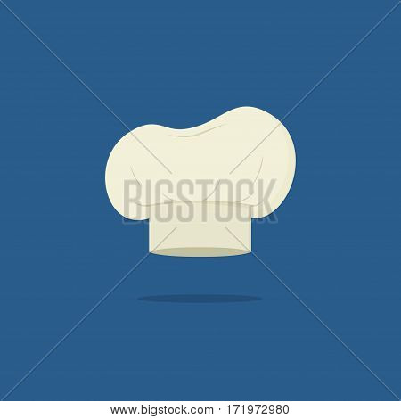 Chef hat isolated on blue background. Clothing cook in flat style. Vector Illustration
