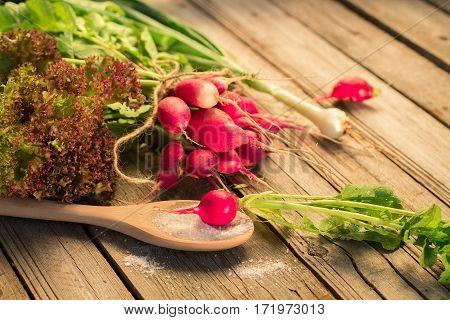Fresh Radishes With Green Onions And Salt On A Wooden Table