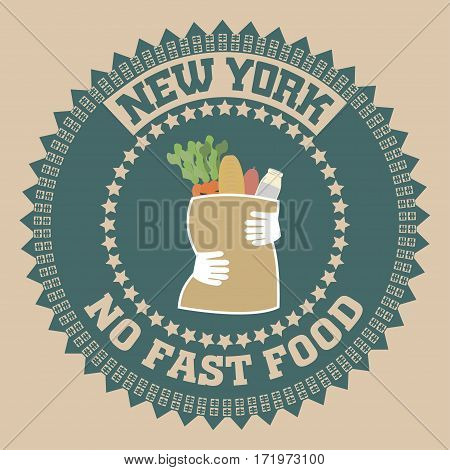 New york Brooklyn sport typography t-shirt no fast food - vector