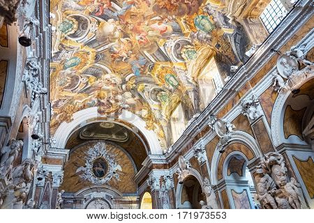 Naples Italy - August 3 2015: Sculptures and paintings inside the St Severo chapel