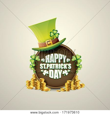 vector happy saint patricks day label or poster with green hat, lucky clovers and vintage wooden board isolated on background.