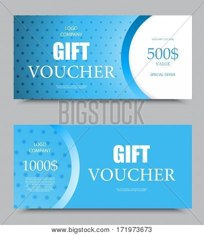 Gift company voucher template on five hundred and one thousand dollars with light blue wavy dotted pattern. Vector illustration