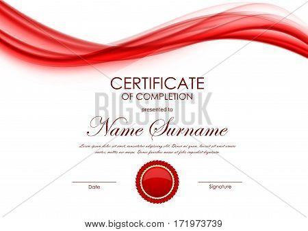 Certificate of completion template with dynamic red wavy soft light background and seal. Vector illustration