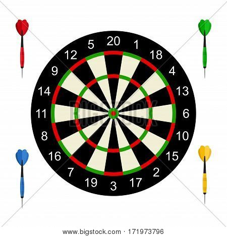 Classic dart board target and darts arrow isolated on white background. Vector Illustration