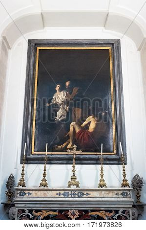 Naples Italy - August 4 2015: A painting by Battistello in the Pio Monte Della Misericordia church