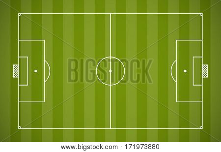 Soccer field lining template on green background.