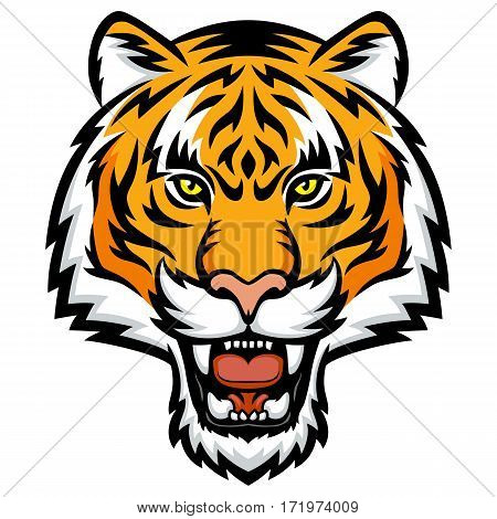 A Tiger head logo. This is vector illustration ideal for a mascot tattoo or T-shirt graphic.