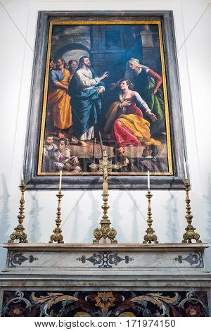 Naples Italy - August 4 2015: A painting by Santafede in the Pio Monte Della Misericordia church