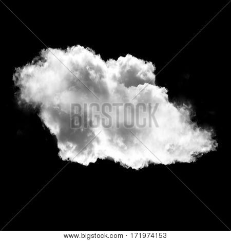 White fluffy cloud isolated over black background realistic cloud or smoke 3D rendering illustration