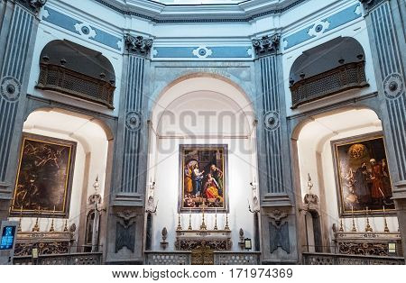 Naples Italy - August 4 2015: The octagonal baroque Pio Monte Della Misericordia church