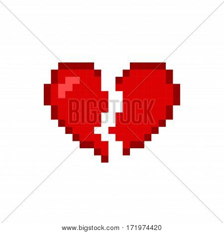 Broken heart red icon isolated on white background. Romantic love vector illustration