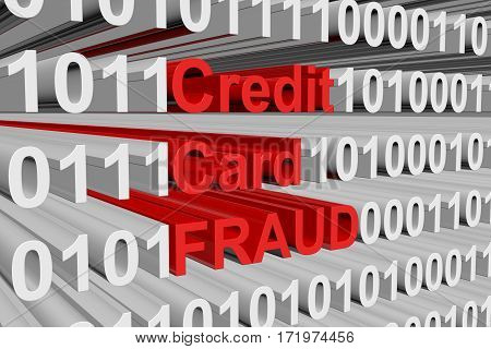 credit card fraud is presented in the form of binary code 3d illustration