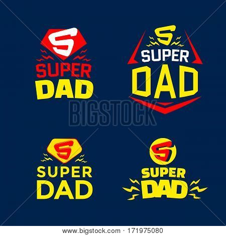 Super Dad emblem. Super hero logo set. Vector illustration