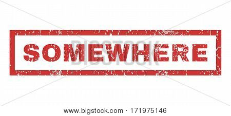 Somewhere text rubber seal stamp watermark. Tag inside rectangular banner with grunge design and scratched texture. Horizontal vector red ink sticker on a white background.