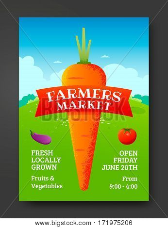 Farmers market poster template with vegetable carrot. Vector illustration