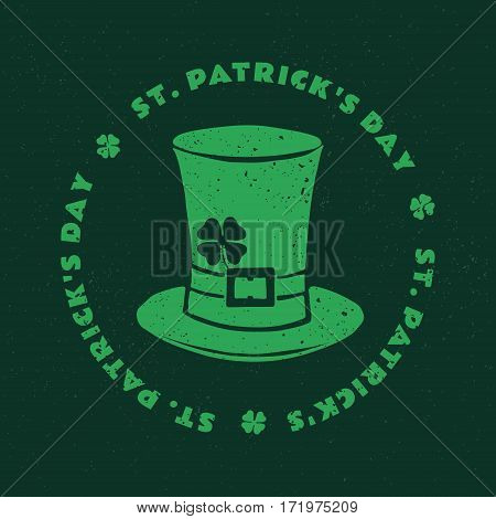 St. Patrick's Day. Retro Style Emblems hat Leprechaun. Typography. Vector illustration.